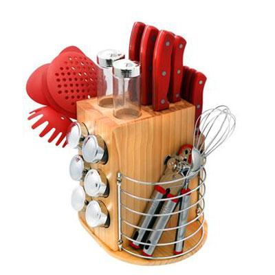 Purelife 31 Piece Carousel Knife & Kitchen Tool Set - 31 Piece[s] - High Carbon Stainless Steel - Red (plcks-200r)