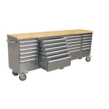 Thor 96 inch 24 Drawer Wide Stainless Steel Anti-Fingerprint Tool Chest with Work Station ()