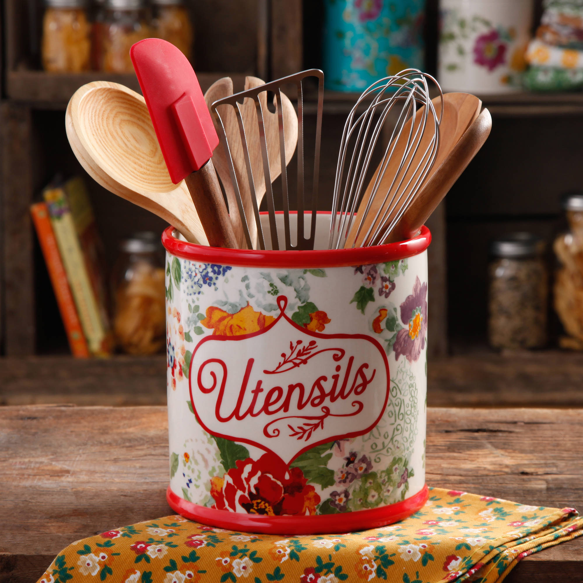 The Pioneer Woman Country Garden Utensil Crock