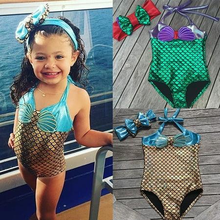 Children Baby Kids Girl Mermaid Bikini Swimsuit Swimwear Bathing Suit One-pieces Size 0-8T