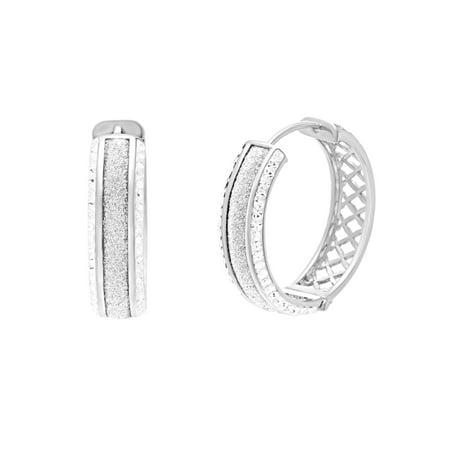 Lesa Michele Women's White Glitter Border 25MM Hoop Earrings in Rhodium Plated Brass