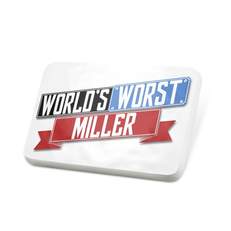 Miller Pan (Porcelein Pin Funny Worlds worst Miller Lapel Badge – NEONBLOND )
