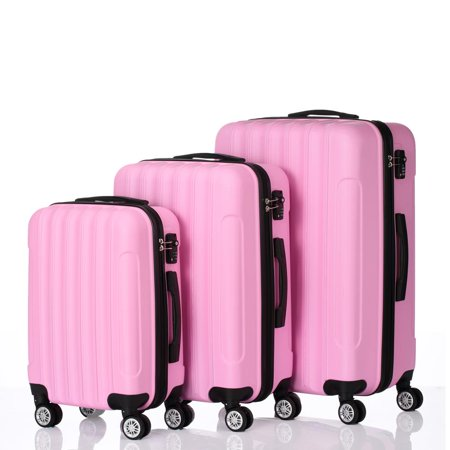 3 PCS Luggage Travel Set Bag ABS Trolley Hard Shell Suitcase w/TSA