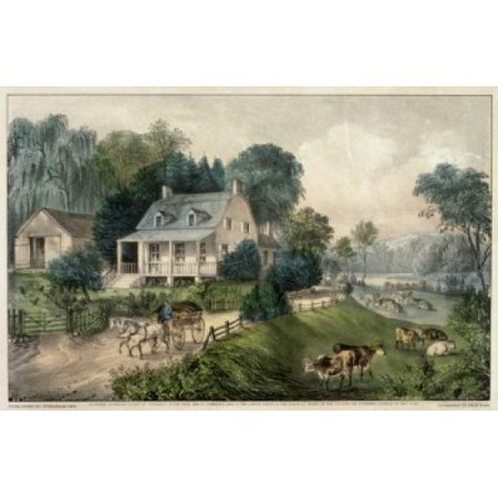 American Homestead  Summer  Currier & Ives Lithograph Poster Print Currier & Ives Scene
