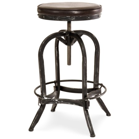 Best Choice Products Industrial Metal Swivel Bar Stool Seat with Adjustable Height, Rustic Brown