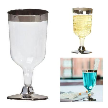 48 Pc Bulk Disposable Plastic Champagne Flutes Wedding Wine Cups Silver Rim Base (Bulk Champagne Flutes)