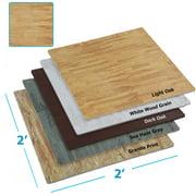 Clevr Interlocking EVA Foam Mat Cushion Flooring Tiles, Light Oak Pattern - Set of 25 (2' x 2') Covers 100 sq.ft. for Gym Workout Exercise