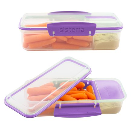 Sandwich Platter Containers (Sistema (2 Pack) Meal Prep Containers Reusable BPA Free Lunch Containers With Dividers For Sandwich)