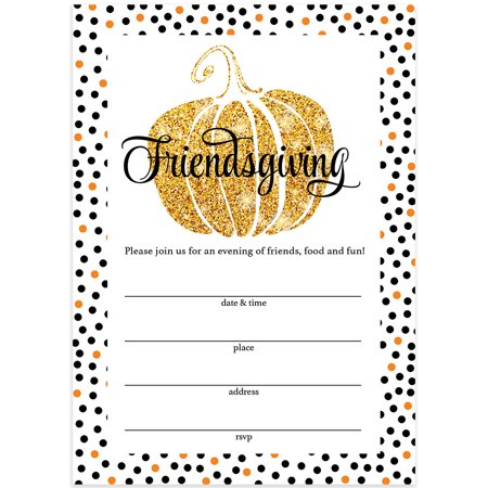 Thanksgiving Dinner Invitations & Envelopes ( Pack of 25 ) Friendsgiving Welcome Close Friends to Share A Traditional Autumn Food Feast Large 5 x 7
