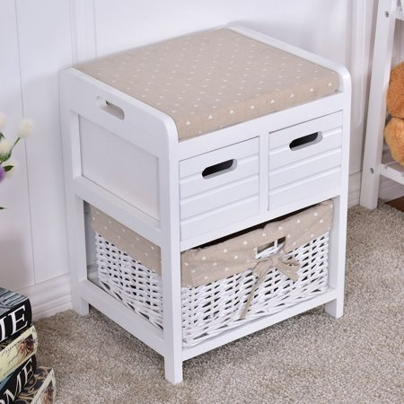 costway wooden storage unit bench wicker rattan drawers baskets cushion seat. Black Bedroom Furniture Sets. Home Design Ideas
