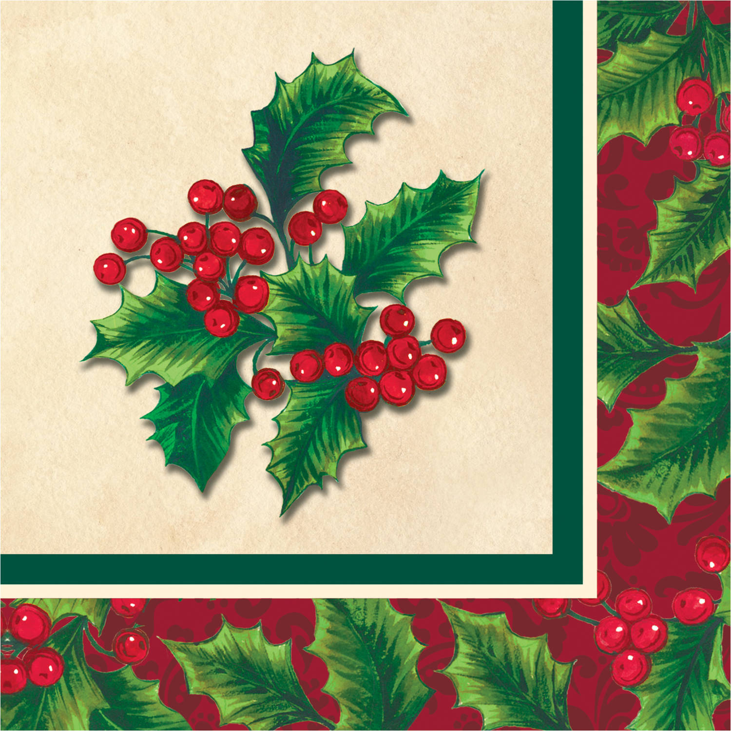 Boughs of Holly Beverage Napkins, 16-Pack