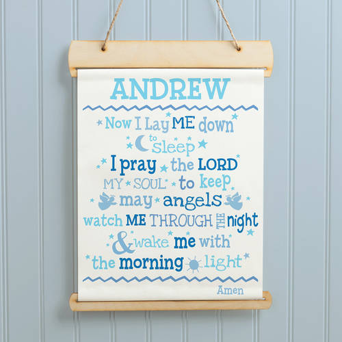 Now I Lay Me Down to Sleep Personalized Hanging Canvas Banner, 4 Colors to Choose From