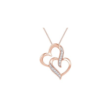 10k Solid Rose Gold Round Cut Real Natural White Diamond Double Heart Pendant Necklace (I-J Color, I2-I3 (Gold Round Cut Heart)