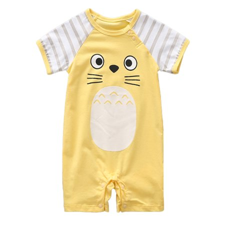 - stylesilove Adorable Unisex Baby Totoro Short Sleeve Cotton Romper (80/12-18 Months, Yellow)