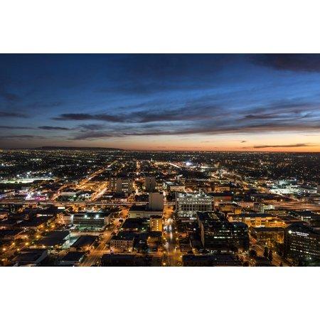 Los Angeles Skyline Posters (LAMINATED POSTER City Skyline Los Angeles Urban Lights Dusk Sunset Poster Print 24 x 36)