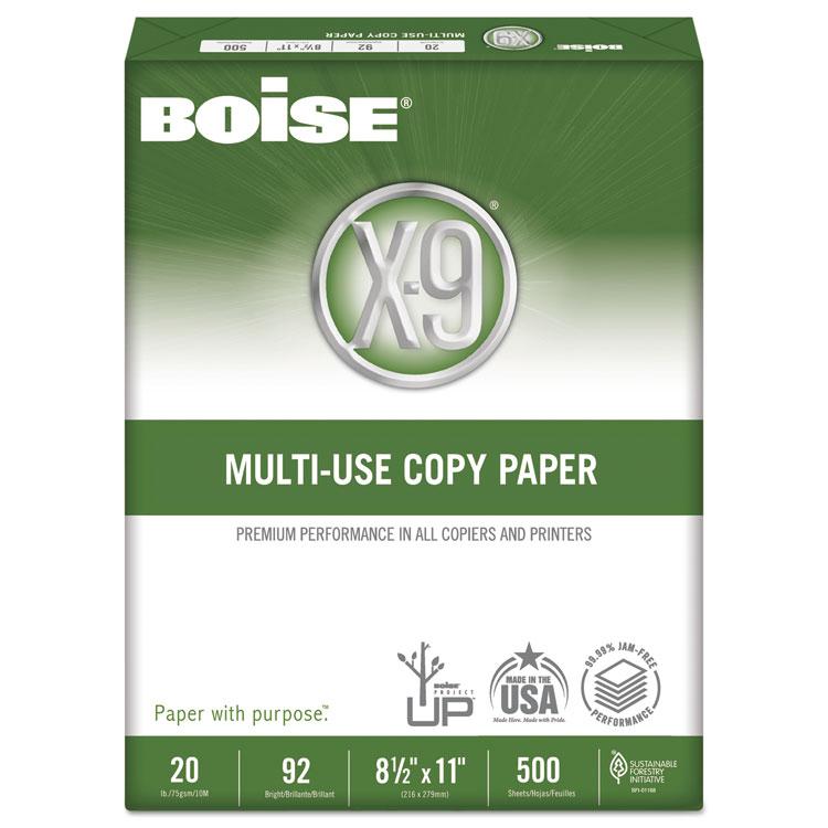 X-9 Copy Paper, 92 Brightness, 20lb, 8-1/2 x11, White, 2500 Sheets/Carton