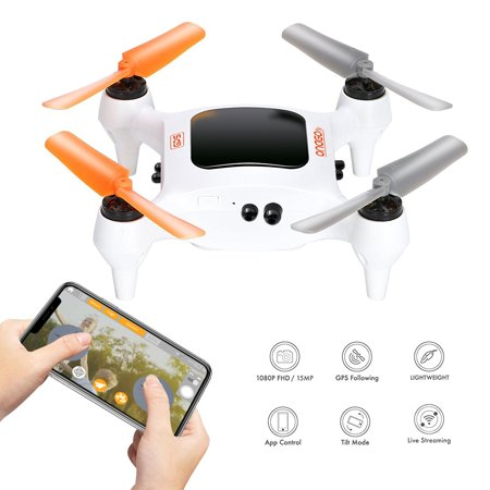 ONAGOfly Smart NANO Drone with 15MP Camera 1080P FHD 30fps Live Video WiFi 4CH 6-Axis Gyro RC Quadcopter with GPS, One touch take-off and landing for Beginners or Kids on iPhone or iOS Device