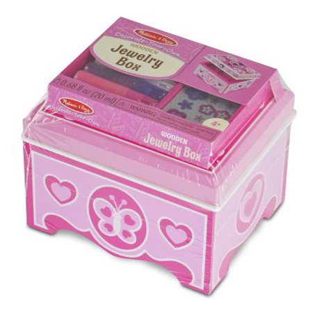 Melissa & Doug Decorate-Your-Own Wooden Jewelry Box Craft - Craft Jewelry Art