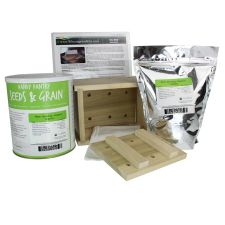 Organic Tofu Maker Kit - Wood Mold / Press - 5 Lbs. Yellow Soybeans, More - Everything to Make Fresh (Best Way To Press Tofu)