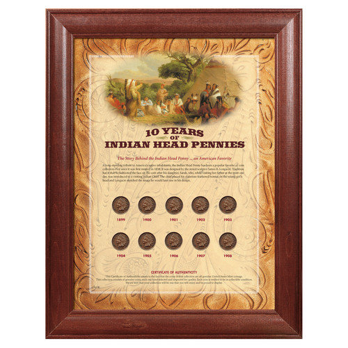 American Coin Treasures 10 Years of Indian Head Pennies Wall Framed Memorabilia
