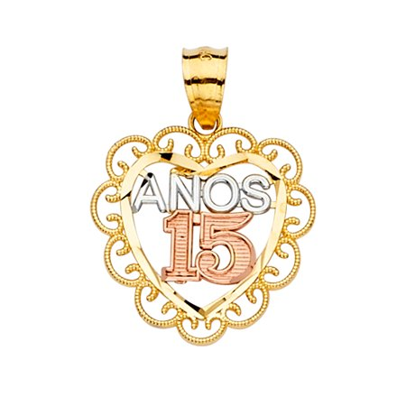 Ioka - 14K Tri Color Gold 15 Anos 15 Years Quinceanera Heart Charm Pendant For Necklace or Chain