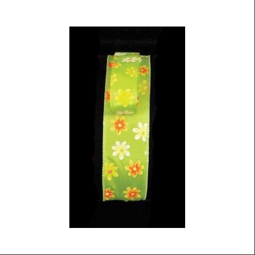 """Spring Flowers Green Floral Wired Craft Ribbon 7/8"""" x 40 Yards"""
