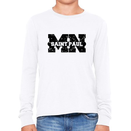 Saint Paul, Minnesota MN Classic City State Sign Boy's Long Sleeve T-Shirt (Party City St Paul Mn)