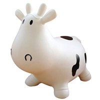 White Cow Bouncer with Hand Pump, Inflatable Space Hopper, Ride-on Bouncy Anim..