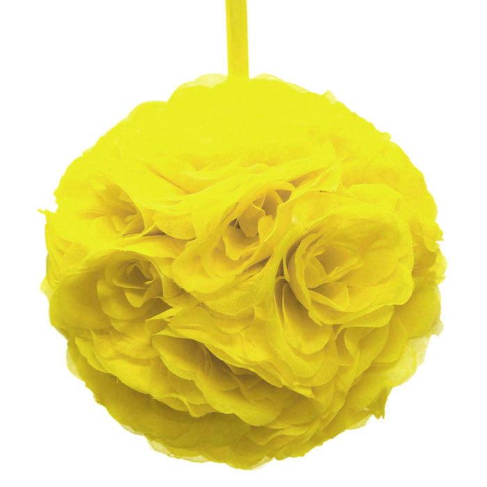 Silk Flower Kissing Balls Wedding Centerpiece, 10-inch, Yellow