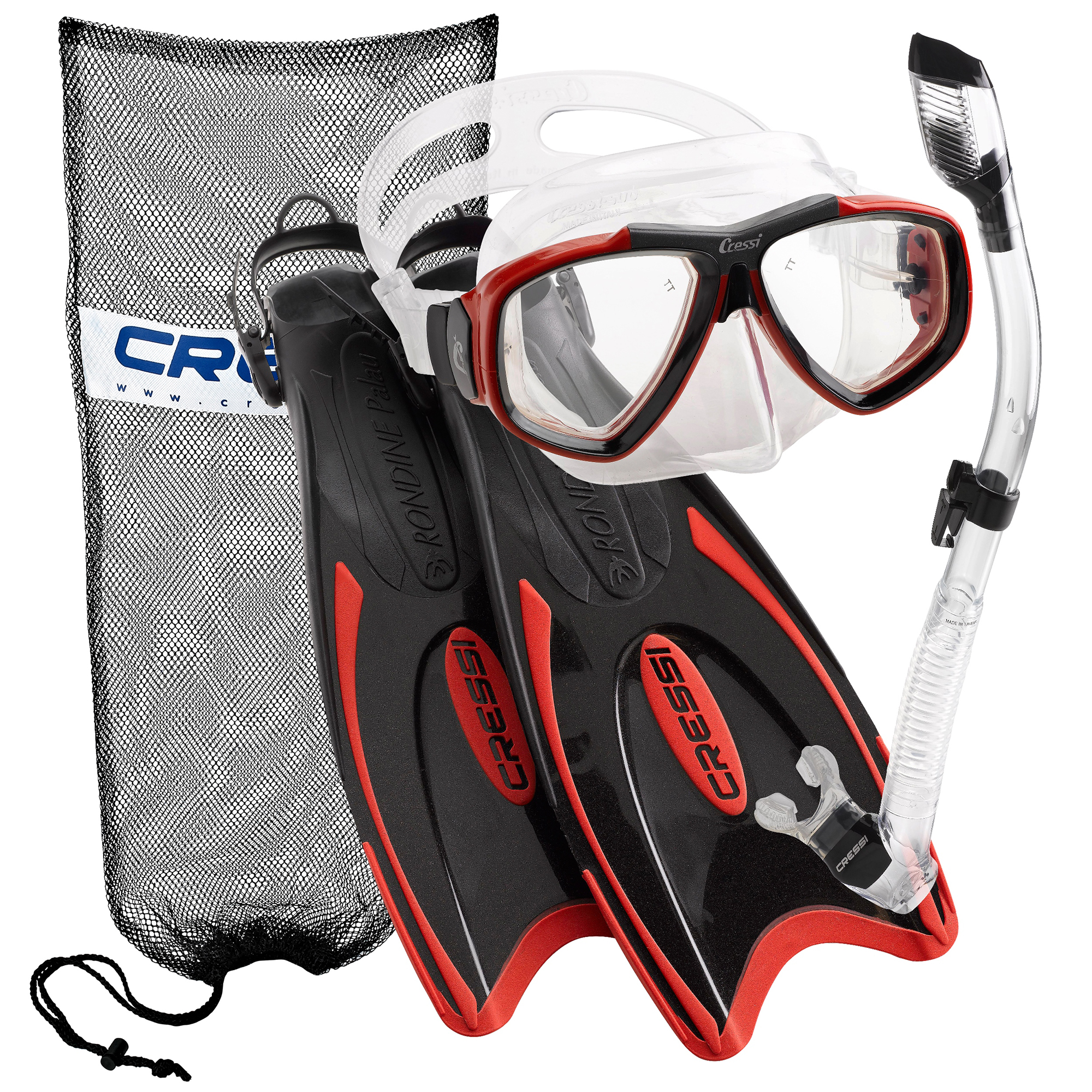 Click here to buy Cressi Palau Long Fins, Focus Mask, Dry Snorkel, Snorkeling Gear Package, Red LG.