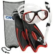 Cressi Palau Long Fins, Focus Mask, Dry Snorkel, Snorkeling Gear Package, Red - LG