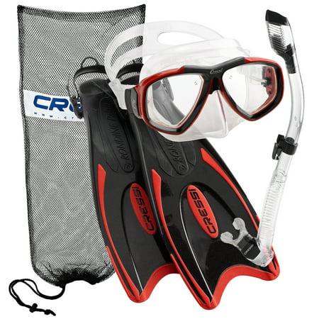- Cressi Palau Long Fins, Focus Mask, Dry Snorkel, Snorkeling Gear Package, Red - LG