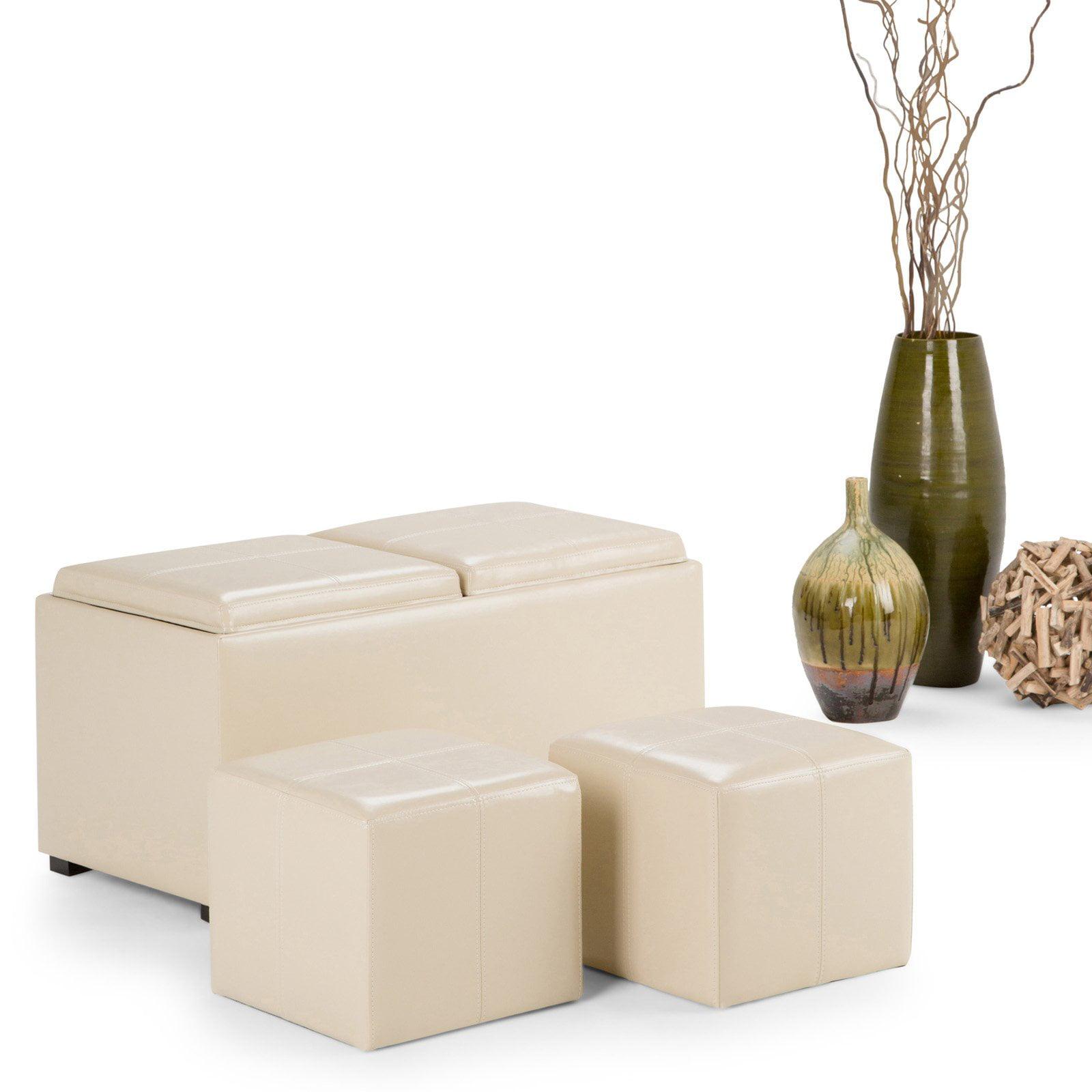 Simpli Home Avalon 5 Piece Storage Ottoman