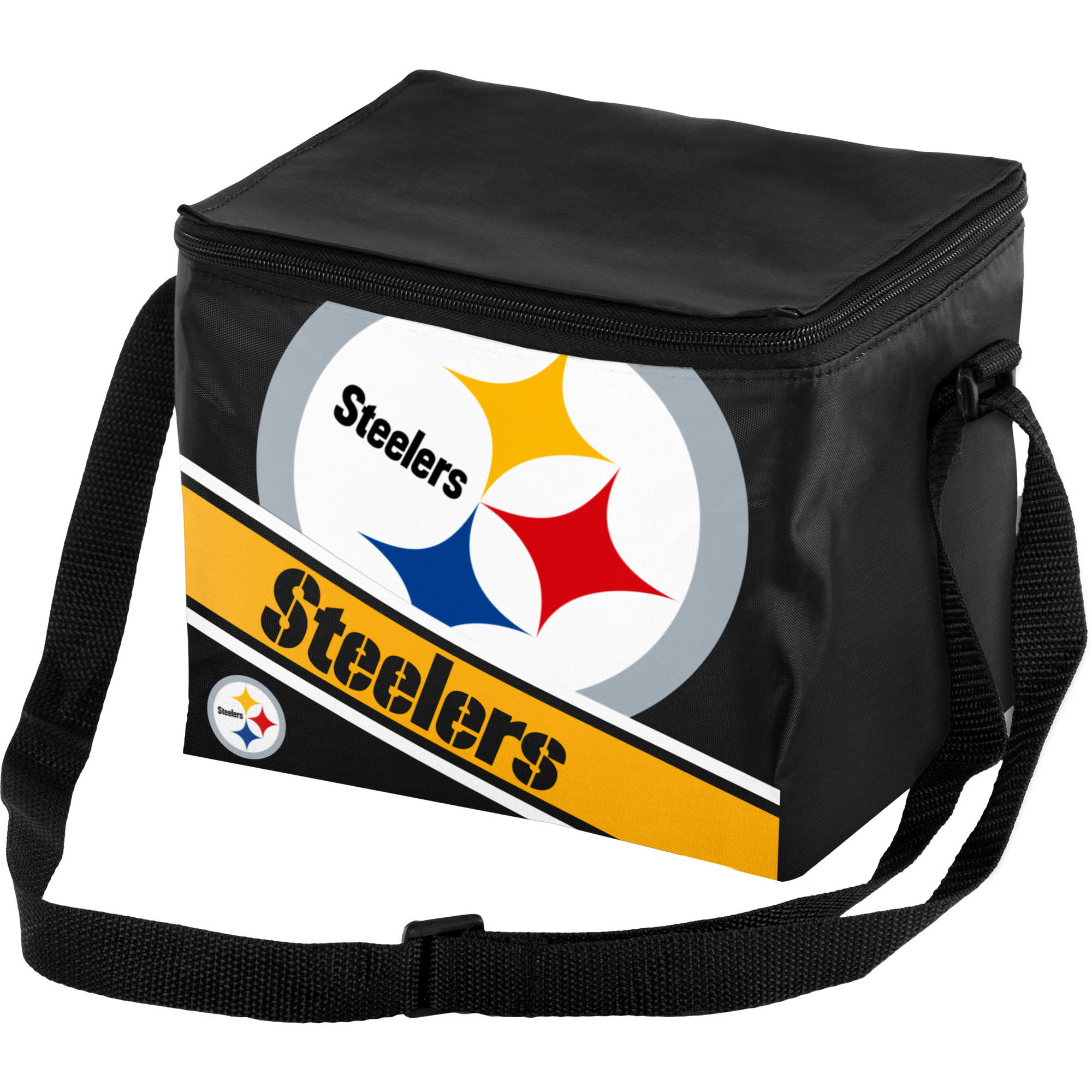 Forever Collectibles Big Logo Stripe 6 Pack Cooler, Pittsburgh Steelers