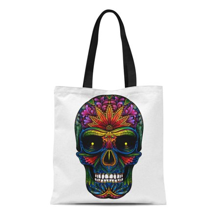 ASHLEIGH Canvas Bag Resuable Tote Grocery Shopping Bags Candy Color Tattoo Skull on Halloween Pattern Sugar Abstract Black Tote Bag - Halloween Bag Pattern