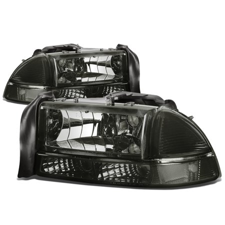 For 1997 to 2004 Dodge Dakota / Durango 4pcs Replacement Headlight+Bumper Lamp Smoked Housing Clear Side 99 00 01 02 03 (Dodge Dakota Walker)