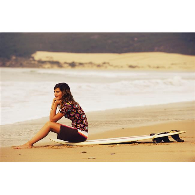 Posterazzi DPI1871775LARGE Young Woman Sitting on Her Surf Board on the Beach - Tarifa Cadiz Andalusia Spain Poster Print, 38 x 24 - image 1 of 1