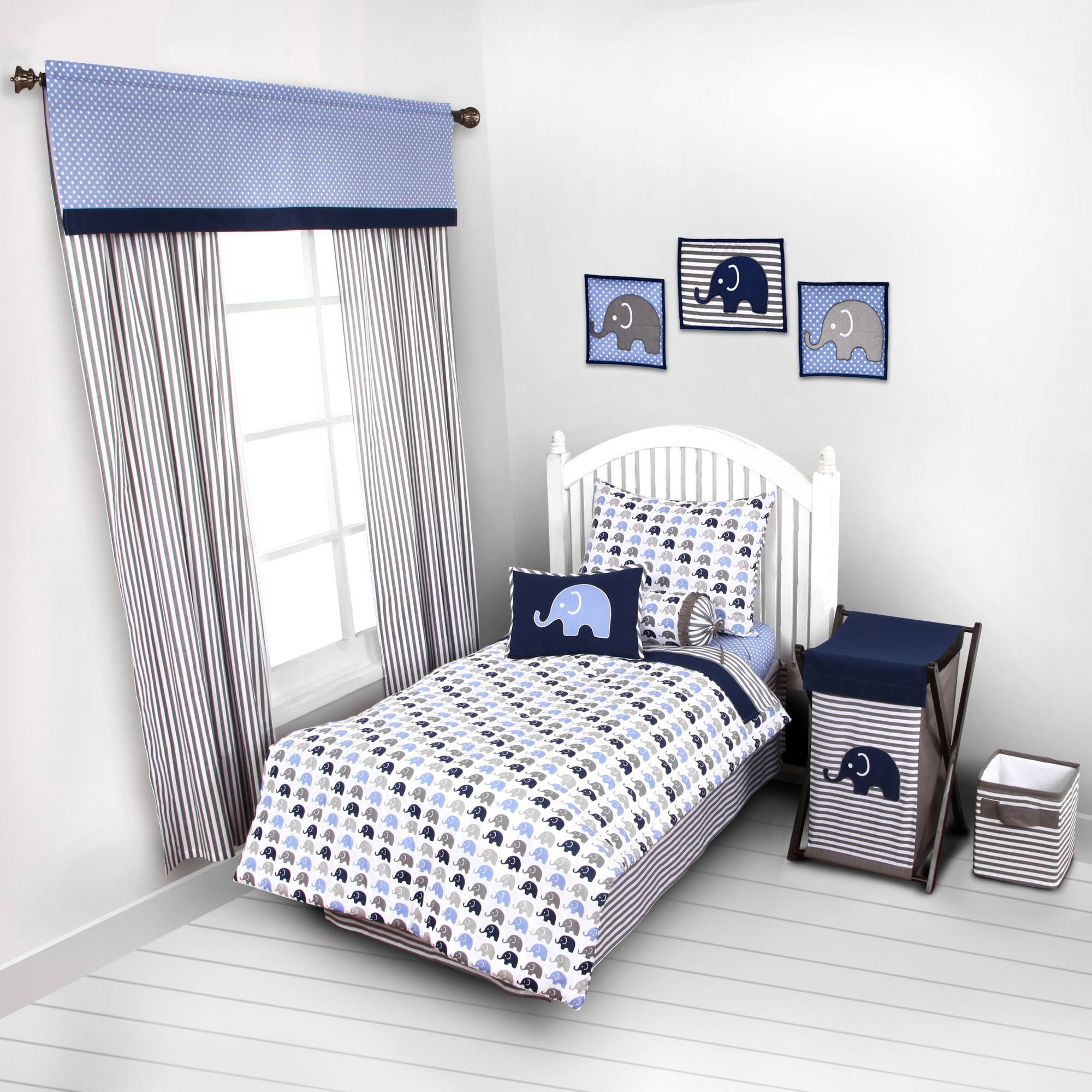 Bacati Elephants 4-Piece Toddler Bedding set 100% Cotton percale,  Blue/Gray