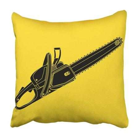 BPBOP White Blade Black Chainsaw Yellow Chain Cut Danger Equipment Flat Forest Gasoline Pillowcase Cover 16x16 inch