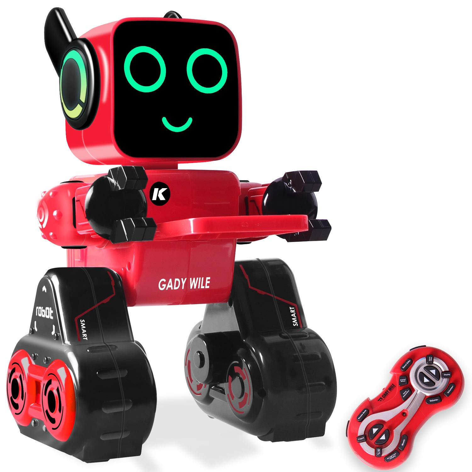KIDdesigns Programmable Remote Control Toy Robot for Kids,Touch & Sound Control, Speaks, Dance Moves, Plays Music. Built-in Coin Bank.Rechargeable RC Robot Kit for Boys, Girls All Ages-Red/Black