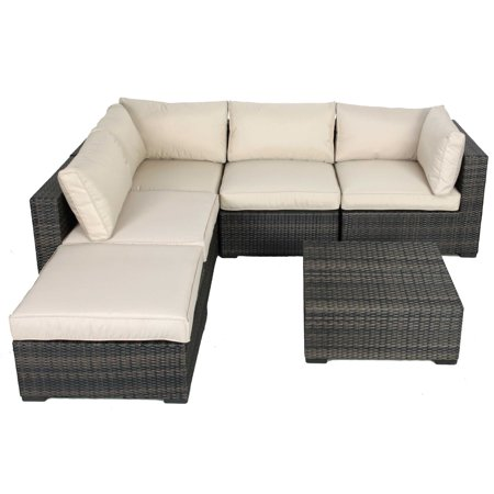 Creative Living South Hampton 6 Piece Wicker Sectional Conversation Set