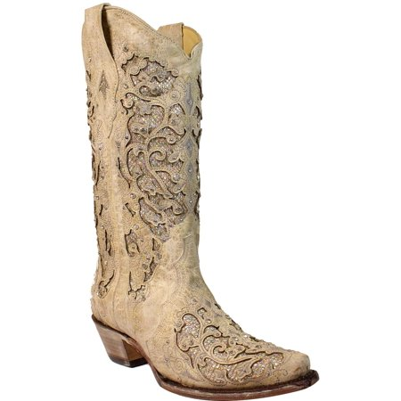 Corral Women's Glitter Inlay And Crystals Wedding Boot Snip Toe - A3322 (Glitter Boots)