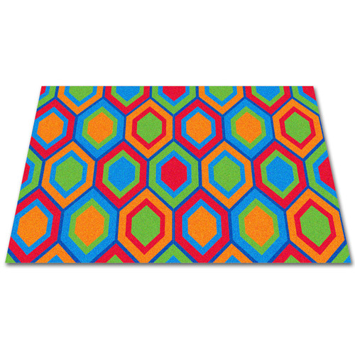 Kid Carpet Sitting Hexagons Area Rug