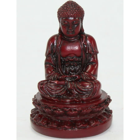 "Feng Shui 2"" Red Meditating Buddha Figurine Peace Luck Statue Paperweight Gift"