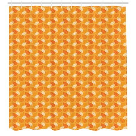 Burnt Orange Shower Curtain Autumn Leaves Silhouettes Foliage Illustration Nature Theme Fabric Bathroom Set