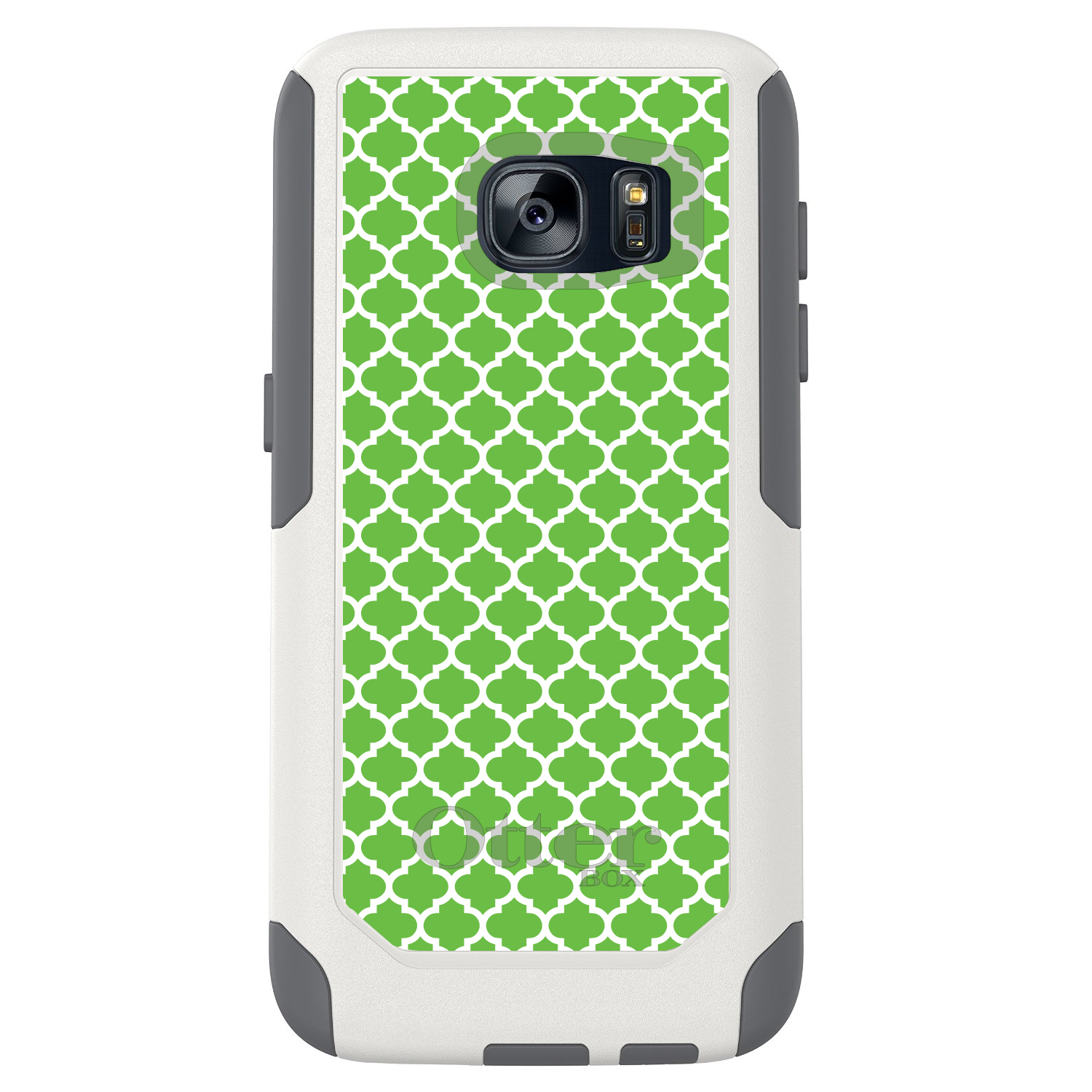 DistinctInk™ Custom White OtterBox Commuter Series Case for Samsung Galaxy S7 - Green White Moroccan Lattice