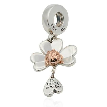 PANDORA Clover & Ladybird Dangle Charm (Pandora Staff Charm)