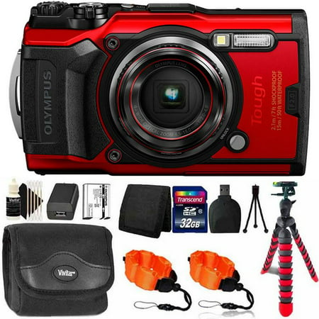 OLYMPUS Tough TG-6 12MP Waterproof W-Fi Digital Camera Red with 32GB Memory Card & Accessory Kit