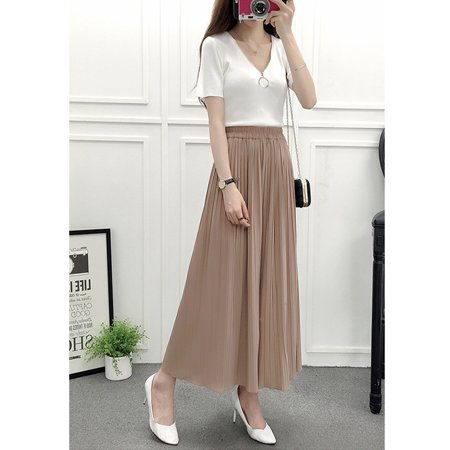 Summer Women Casual High-waist Pleated Wide-leg Chiffon Pants Khaki One size