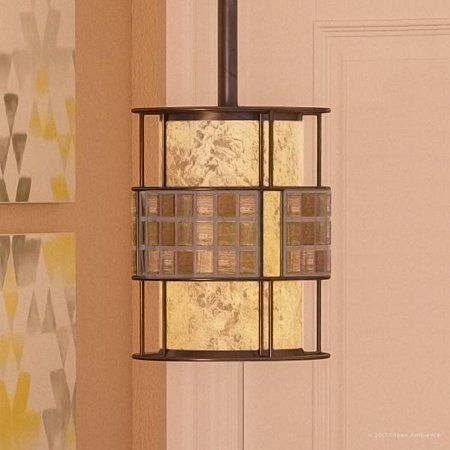 """Urban Ambiance Luxury Art Deco Indoor Hanging Pendant Light, Small Size: 8.5""""H x 6""""W, with Moroccan Style Elements, Copper Revival Finish and Oyster Mica Inner Shade, Mosaic Tile Outer Shade, UQL2433"""